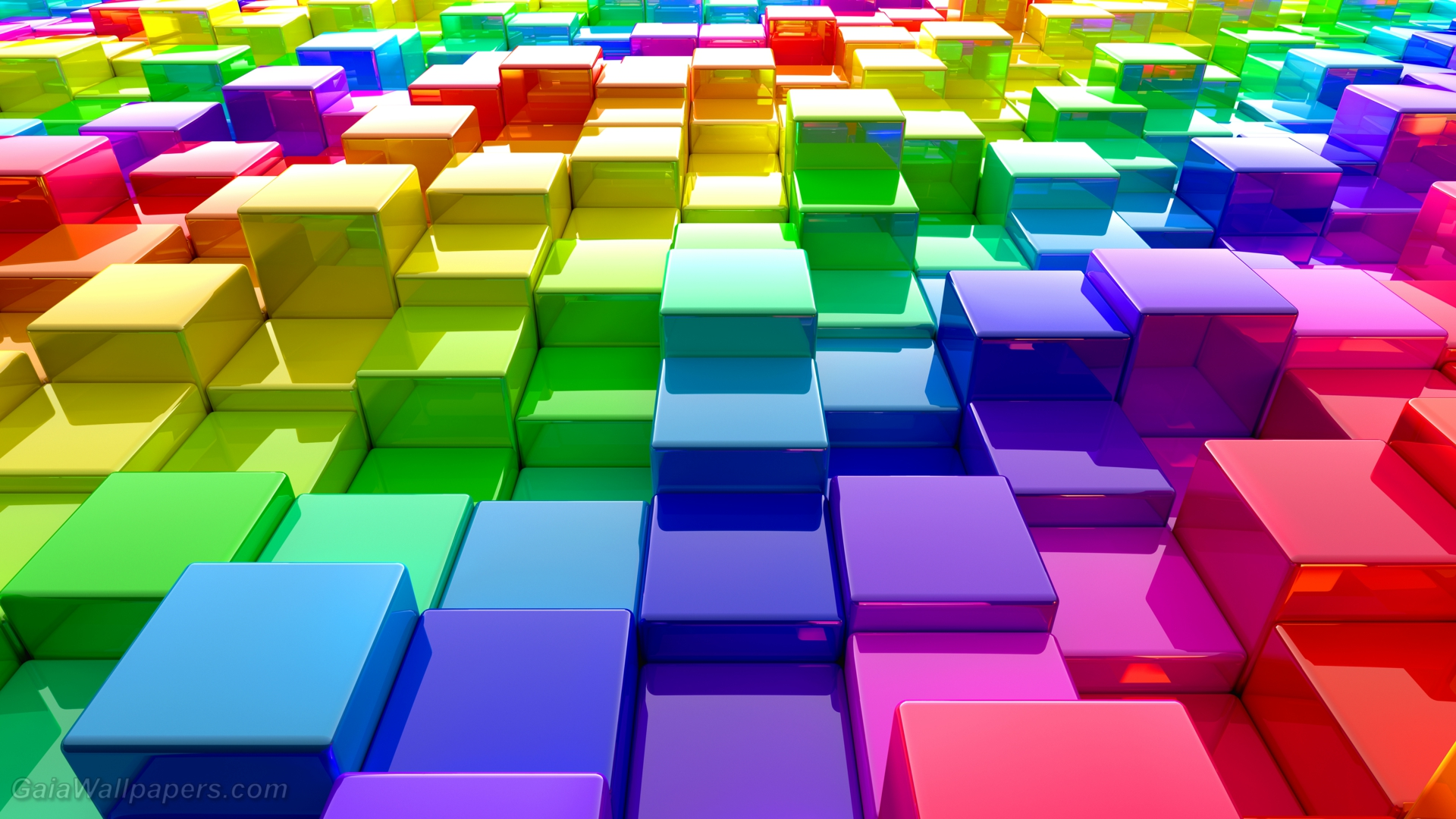 Rainbow Matrix Of Color Cubes Wallpapers 1920x1080 Free Desktop