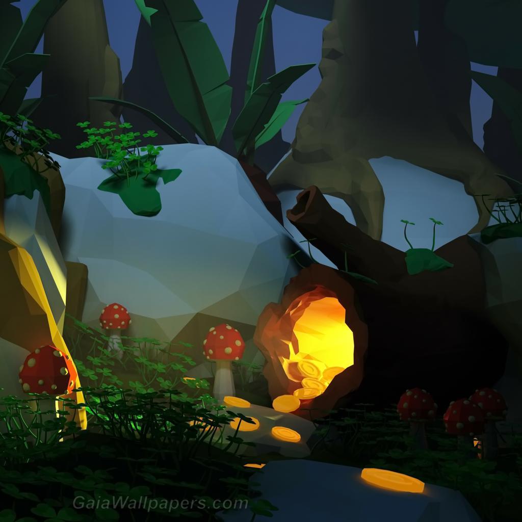 Pot d'or caché dans la forêt - Fonds d'écran gratuits
