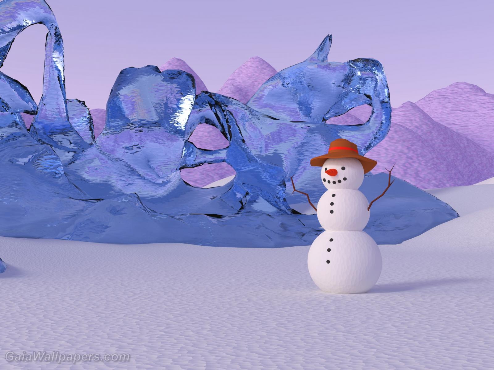 Snowman celebrating winter in his kingdom - Free desktop wallpapers