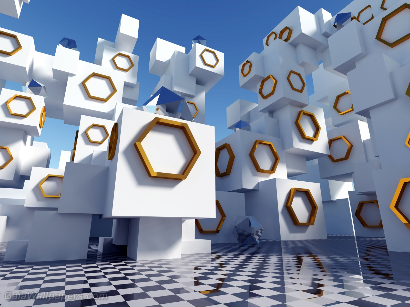 Mysterious cubes stacked up with symbols - Free desktop wallpapers