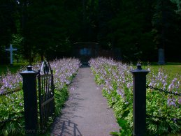 Path lined with Hostas leading to a sacred place desktop wallpapers