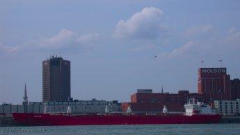 Transport boat docked at the Old Port of Montreal desktop wallpapers