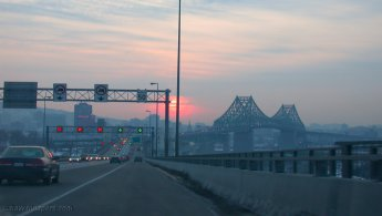 Driving on Pont Jacques-Cartier at sunset desktop wallpapers