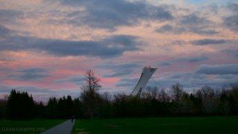 Olympic Stadium's tower seen from Maisonneuve Park desktop wallpapers