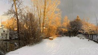 Winter sunset illuminating the park desktop wallpapers
