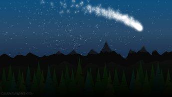 Comet in the starry sky desktop wallpapers