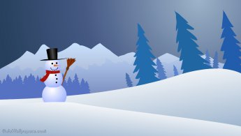 Jolly snowman in the countryside desktop wallpapers