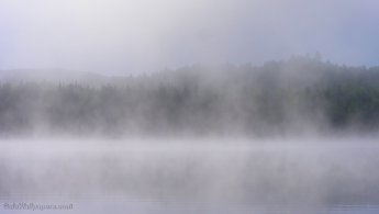 Lac Caisse in the morning mist desktop wallpapers
