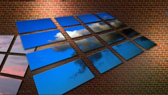 Virtual skies on a brick wall desktop wallpapers