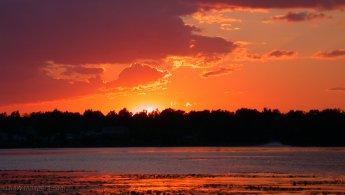 Sunset ball illuminating the sky desktop wallpapers