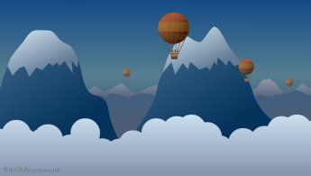 Imaginary balloon trip in the mountains desktop wallpapers