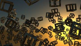 Structure de cubes dans un coucher de soleil virtuel fonds d'écran gratuits