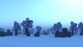 Terre des arbres violets dans le brouillard du matin fonds d'écran gratuits