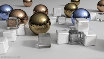 Metallic spheres in a virtual environment desktop wallpapers
