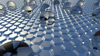 Glass spheres emerging from the hexagonal mirror desktop wallpapers