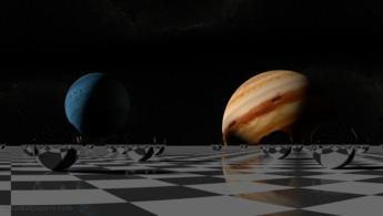 Small solar system reflecting on the chessboard desktop wallpapers