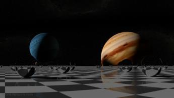 Petit système solaire réfléchissant sur l'échiquier fonds d'écran gratuits