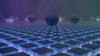Glass and mirror spheres on the misty cubic floor desktop wallpapers