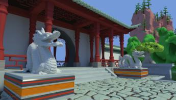 Dragons chinois gardant la porte du jardin fonds d'écran gratuits