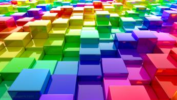 Rainbow matrix of color cubes desktop wallpapers